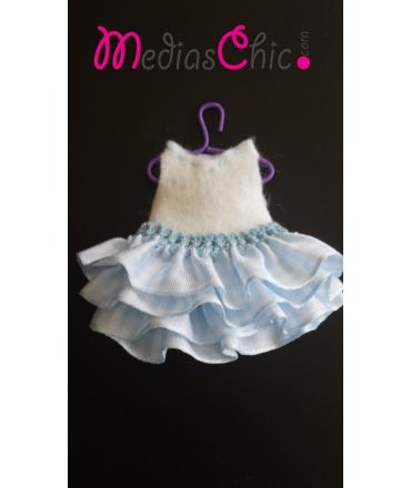 Broche de fieltro vestido volantes azul