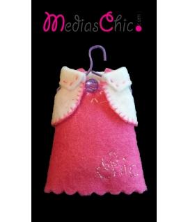 Broche de fieltro vestido rosa chic