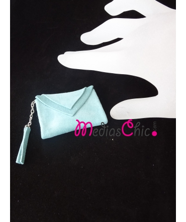 Broche de piel bolsito modelo ante azul