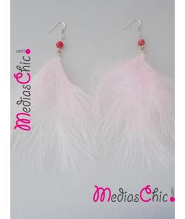 Juego de pendientes de plata de ley con plumas Marabout rosas