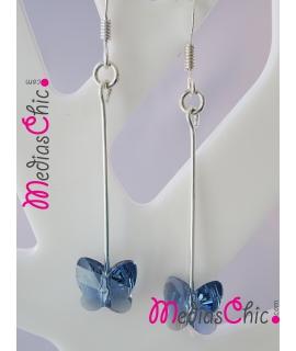 Juego de pendientes de plata de ley con Swarovski modelo mariposa blue